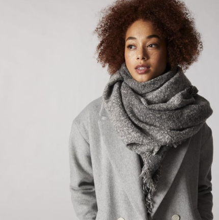 gray scarf outfit for your first winter in canada